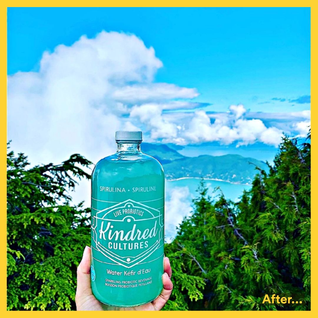 Gloss clear drink label on a bottle with trees, mountains, lake, and clouds.
