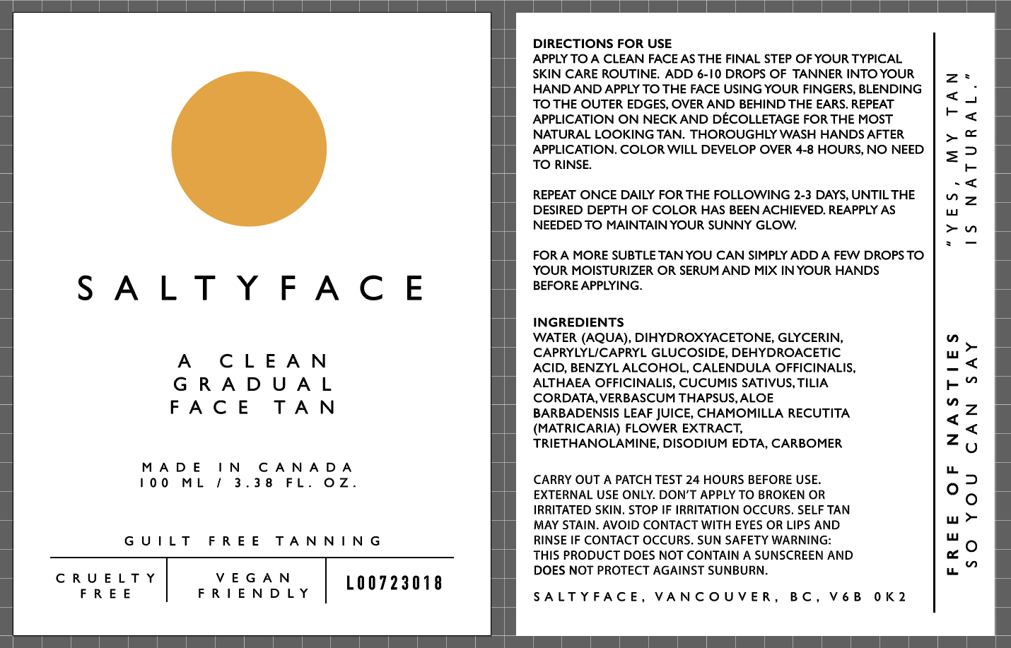 front and rear panels of cosmetic labels for Saltyface